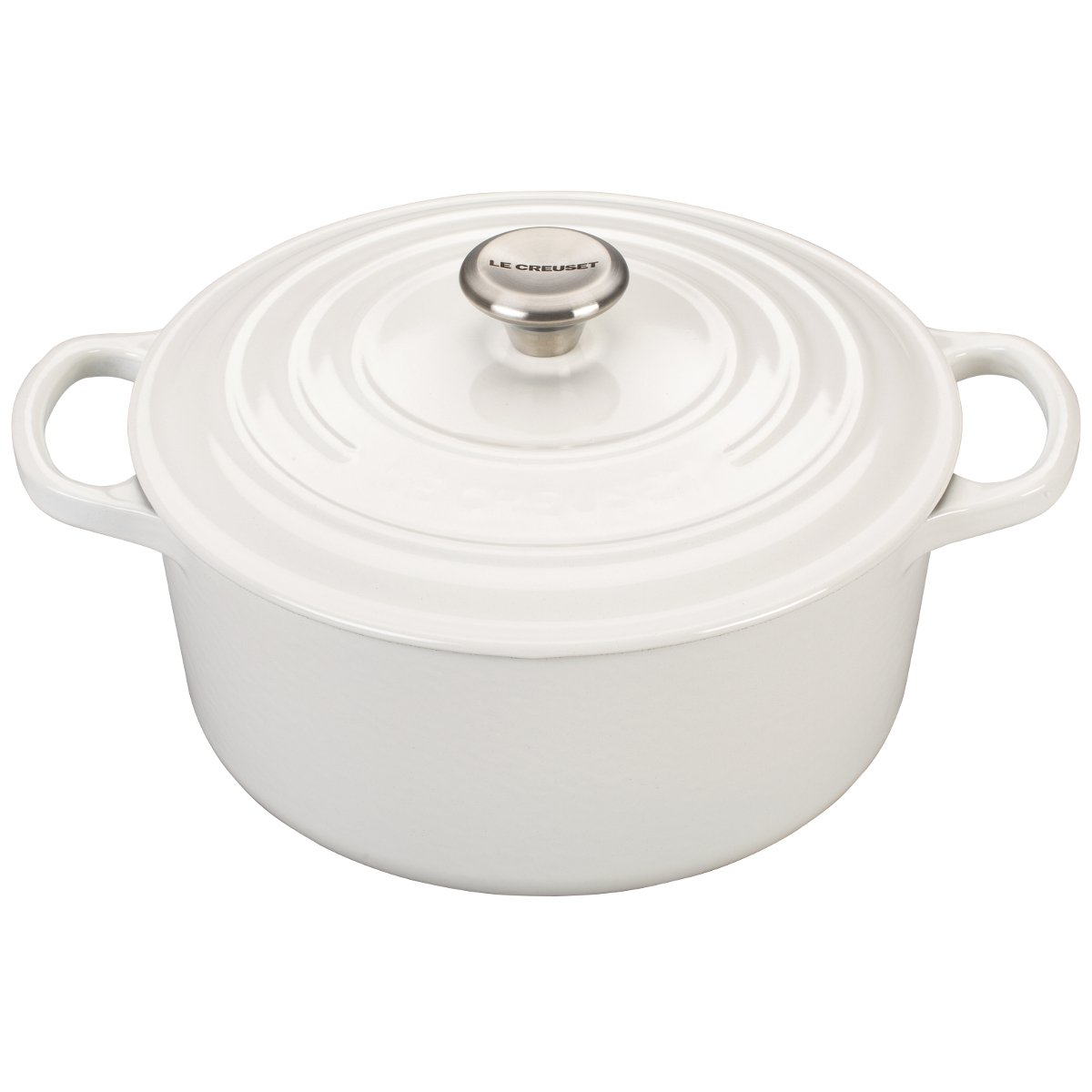Le Creuset LS2501-2216SS Signature Enameled Cast Iron Round French Oven, 3 1/2 quart, White
