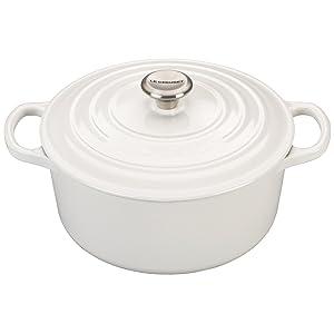 Le Creuset LS2501-2216SS Signature Enameled Cast Iron Round French Oven, 3 1/2 quart, White