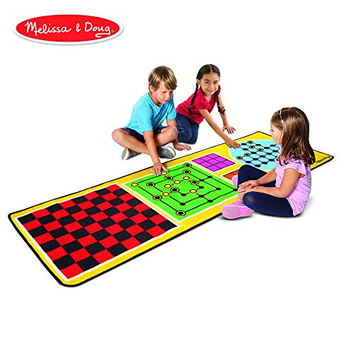 Melissa & Doug 4-in-1 Game Rug (78.5 x 26.5 inches) - 4 Board Games, 36 Game Pieces ()