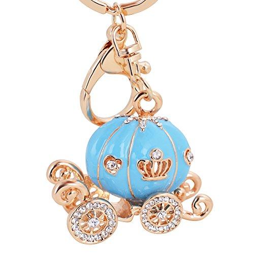 (EASYA Halloween Pumpkin Carriage Keychain Fashion Luxury Car Key Ring - High Grade Resin Pumpkin Car Diamond Keychain(Blue Pumpkin)