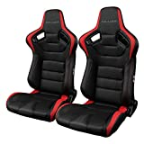 BRAUM -Black and Red Leatherette Carbon Fiber Mixed Universal Racing Seats -Pair