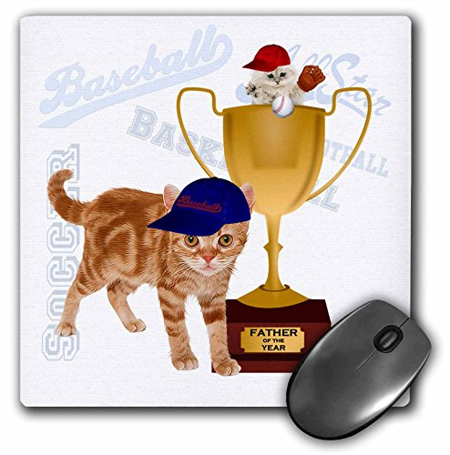 Price comparison product image 3dRose LLC 8 x 8 x 0.25 Inches Mouse Pad, Orange Tabby in A Baseball Cap Kitten in A Father of The Year Trophy Ball and Glove Sports Theme (mp_127604_1)