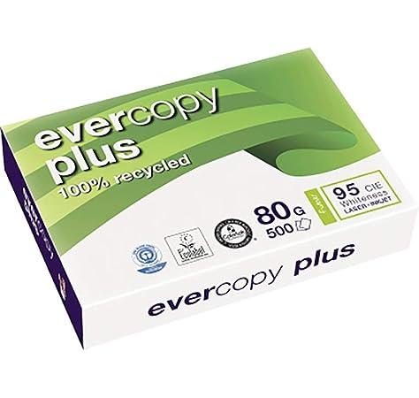 Clairefontaine – Paquete de folios (500 hojas, A3, 80 g, papel 100% reciclado blanco Evercopy + cie95: Amazon.es: Oficina y papelería