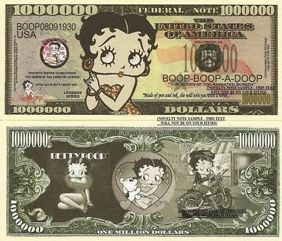 Novelty Dollar Betty Boop Queen Of The Animated Screen Dollar Bills X 4 by Novelty ()