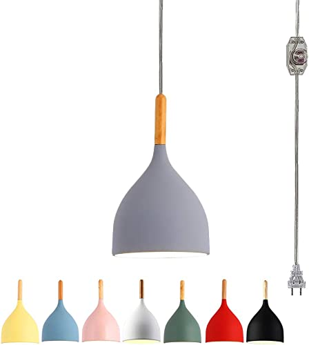 STGLIGHTING 20 Feet Plug-in UL Listed On Off Dimmer Switch Cord with Macarons Grey Al Shade Nordic Style Chandelier Decorative Pendant Light Bulb Not Included TB1000-6M