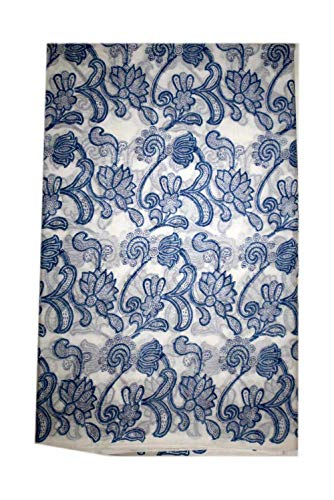 Craft-View Indian Floral Fabric Hand Block Print Jaipur Printed Handmade Fabric Indigo Dress Making Fabric (White-Blue, 5 Yard)