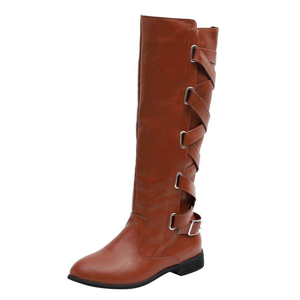 ✔ Hypothesis_X ☎ Women's Stretchy Over The Knee Riding Boots Long Boots Buckle Roman Riding Knee High Cowboy Boots Brown