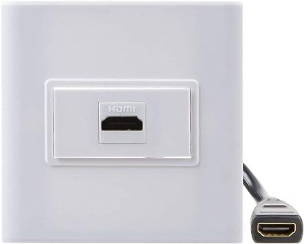 TENINYU - Placa de Pared para Placa Frontal HDMI (1 Puerto) con Conector HDMI y Panel de Montaje Frontal Decorativo con acoplador de extensión de Alta Velocidad 4K 1080P: Amazon.es: Electrónica