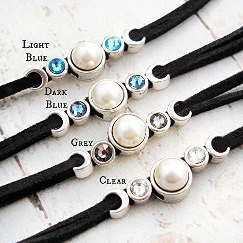 Pearl and Leather Bracelet-Moon Bracelet-Celestial Bracelet-Pearl Bracelet-Gift for Girlfriends-Crystal Bracelet-Leather and Silver Bracelet ()