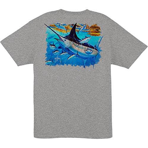 Guy Harvey Men's Mosaic S/S Pocket T-Shirt (Oxford Heather, X-Large) (Best Shirts For Guys)