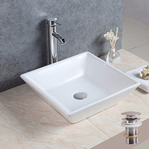 1life Bathroom Porcelain Ceramic Vessel Vanity Sink White Square Above Counter Art Basin Pop Up Drain for Lavatory Vanity (White Counter Lavatory)
