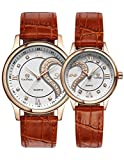 OOFIT His and Her Brown Leather Strap Golden Plated Gift Watches for Couple ( Set of 2 )