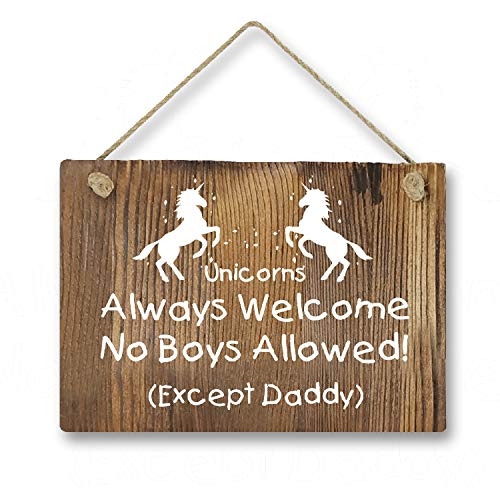 Agantree Art Funny Unicorn Welcome Rustic Front Door Hanger Wood Decor Sign for Kids Girls Nursery Bedroom
