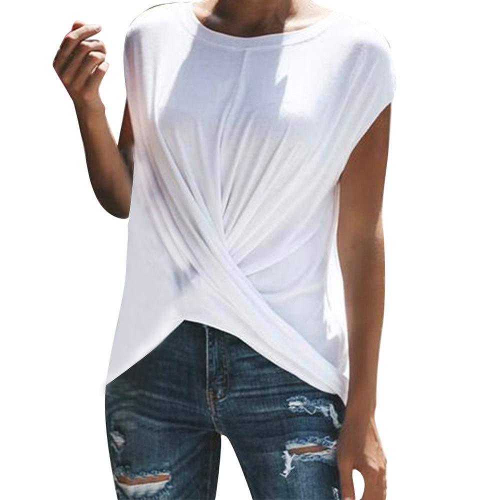 Women Blouse Sale VANSOON Fashion Solid O-Neck Dance Short Sleeve Sport Ruched T-Shirt Top for Teen Girls White