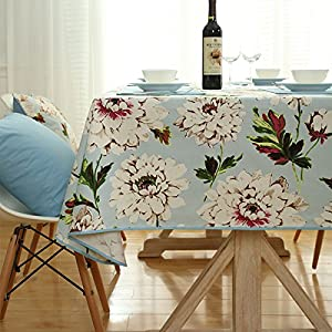 Bringsine Top Quality Washable Cotton Canvas Elegant Flowers Design Rectangle Tablecloth Dinner Picnic Table Cloth Home Decoration Assorted Size
