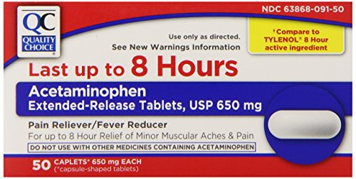 Acetaminophen Extended Release - Quality Chice 8 Hour Acetaminophen Extended-Release Pain Reliever and Fever Reducer Caplets, 50 Count