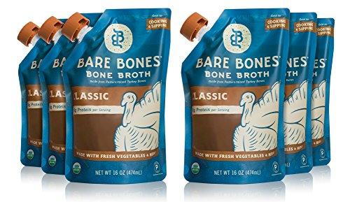 Organic Turkey Bone Broth by Bare Bones  Organic, Turkey Bone Broth, Protein/Collagen-rich, 16 oz (6-pack)