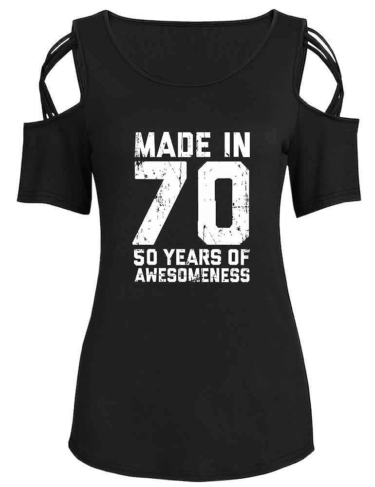 Peceony Maglietta da Donna a Maniche Corte per Il 50/° Compleanno Stile Casual