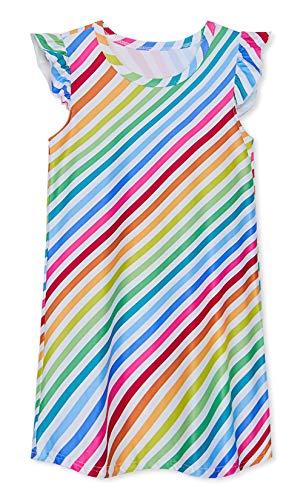 uideazone Girls' Princess Nightgowns Stripe Print Sleepwear Cute Nightdress Sleep Shirts for Casual Rainbow