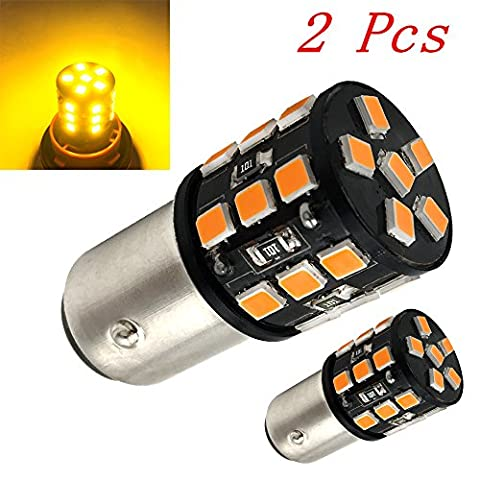 Efoxcity 1157 500 Lumens Extremely Bright 2835 27-SMD 1157 2057 2357 7528 LED Bulbs For Car Turn Tail Signal Brake Backup Light Amber