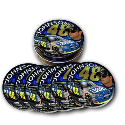 Jimmie Johnson #48 Coaster Set - Set of 6 in Collectible Nascar Tin - Jimmie Johnson Set