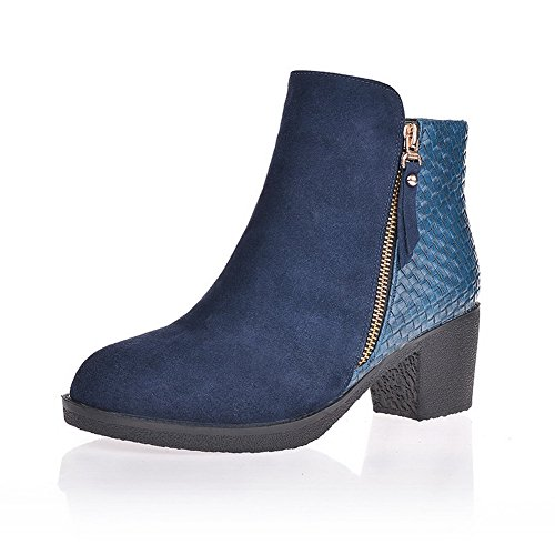 AmoonyFashionWomens Round Toe Closed Toe Round Kitten Heels Imitated Suede Soft Material Solid Boots, Blue, 7 B(M) US B00OLF9TO8 Shoes 5cd09c