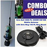 Sirio Bull Trucker 3000 PL 3500W CB & 10M Green LED Mobile Antenna with Mag 145 PL Mag Mount