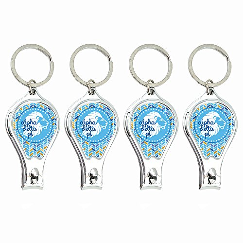 (Alpha Delta Pi Nail Clippers Keychain with built-in Nail File featuring ergonomic design (4pk). Idea for sorority gifts by Worthy)