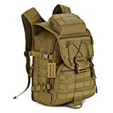 Tactical Backpack - Huntvp 40L Tactical Daypack MOLLE Assault Backpack Pack Military Gear Rucksack Large Waterproof Bag Sport Outdoor For Hunting Camping Trekking