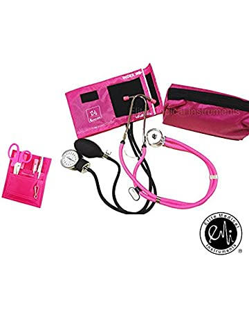 EMI NK-330 - Pink Sprague Rappaport Stethoscope and Aneroid Sphygmomanometer Manual Blood Pressure Set