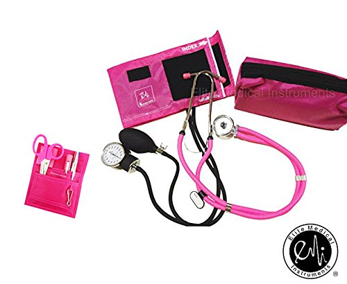 EMI NK-330 - Pink Sprague Rappaport Stethoscope and Aneroid Sphygmomanometer Manual Blood Pressure Set and Pocket Organizer Nurse Kit