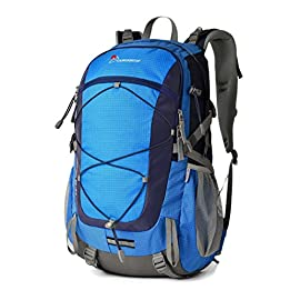MOUNTAINTOP 40L Unisex Hiking/Camping Backpack 5 -FRONT POCKET- The spacious front pocket has organization slots for tools, cards, pens and your smartphone. -WATER-RESISTANT COATING- Water-resistant nylon & polyester fabrics do not allow water to easily penetrate. -LAPTOP COMPARTMENT- Padded internal pouch with adjustable strap in the main compartment for your laptop or tablet.