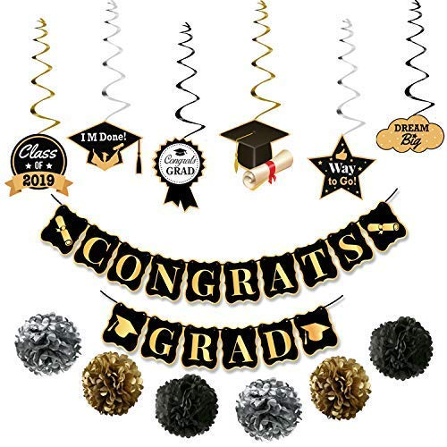 KatchOn Congrats Grad and Hanging Swirls Kit - Graduation Party Supplies 2019 | Graduation Banner | Graduation Hanging Decorations for College Grad, High School Seniors Party Decor, Black and ()