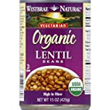 Westbrae Natural Organic Lentil Beans 15 oz (Pack of 6)