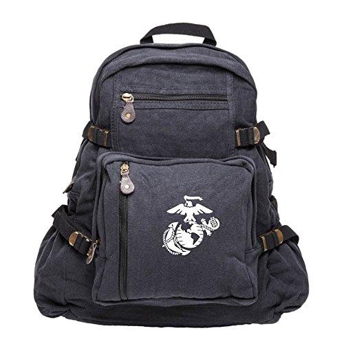 U.S. Marine Corps Semper Fidelis Army Sport Heavyweight Canvas Backpack Bag in Black & White, Large (Packs Marine Corps)