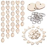 Favourde 200 Pieces in Total, Wooden Circles Wooden Heart Tags with Holes and 12 mm Rings for Birthday Boards, Valentine, Chore Boards, Arts and Crafts