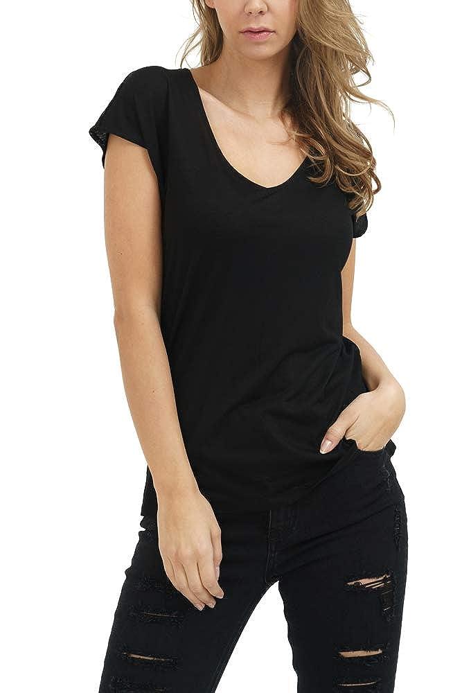 trueprodigy Casual Mujer Marca Camiseta Basico Ropa Retro Vintage Rock Vestir Moda Cuello v Manga Corta Slim Fit Designer Fashion T-Shirt