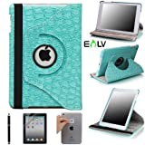 E-LV 360 Degrees Rotating Stand Leather Smart Case for Apple iPad Mini/iPad Nano Red Luxury Crocodile Pattern - Free Screen Protector and Cleaning Cloth (Retail Packaging) (Blue, iPad mini)