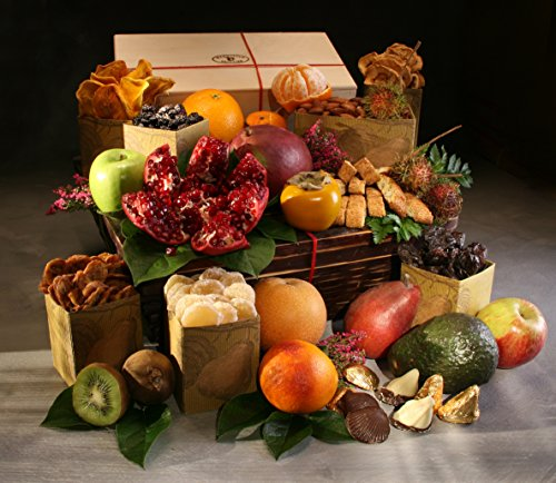 Organic Keepsake Fruit & Treat Gift Basket with14 Organic Seasonal Fresh Fruit, Keepsake Wooden Box with Organic Dried Fruit & Nuts, and Organic Swedish Cookies - Chocolate Caramel & Almond Butter