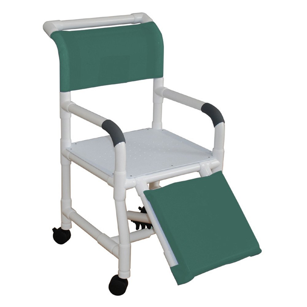 MJM International 118-3TW-AF Standard Shower Chair with Flat Stock Seat and Elevated Leg rest, Royal Blue/Forest Green/Mauve