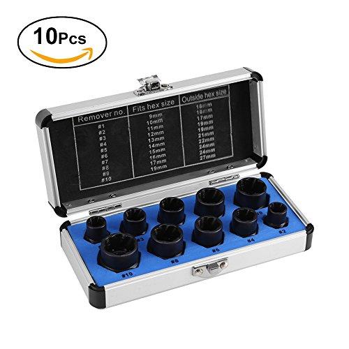 10 Pcs Nut Remover, Drive Socket 9-19mm Remover Set Damaged Bolt Nut Screw Remover Extractor Bolt Removal Set Locking Socket Tools Kit (Nut Remover Set)