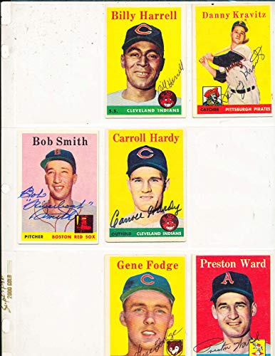 Hardy Signed Baseball - 1958 topps Signed Carroll Hardy Indians #446 card em (b58)