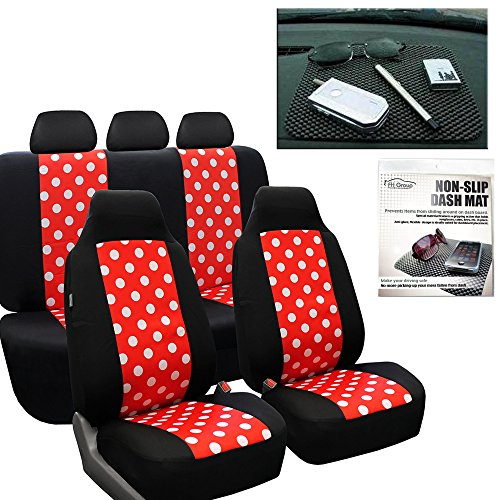 FH GROUP FH-FB115114 Full Set Polka Dots Red Black Color Car Seat Covers with FH GROUP FH1002 Non-slip Dash Grip Pad- Fit Most Car, Truck, Suv, or Van