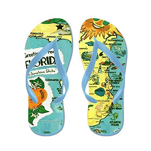 CafePress Vintage Florida Sun Map - Flip Flops, Funny Thong Sandals, Beach Sandals Caribbean Blue