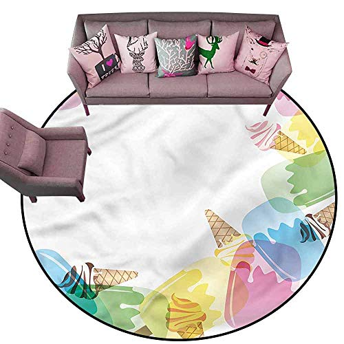 Large Floor Mats for Living Room Colorful Ice Cream,Sugary Treats Freshness Diameter 54