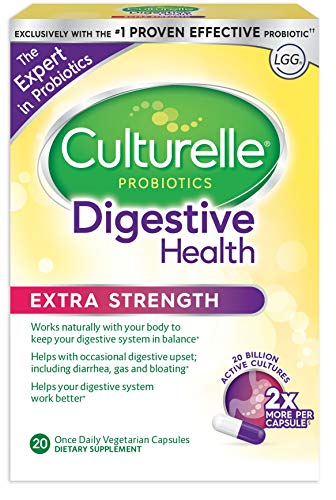 Culturelle Extra Strength Digestive Health Daily Formula, One Per Day Dietary Supplement, Contains 100% Naturally Sourced Lactobacillus GG –The Most Clinically Studied Probiotic, 20 Count by Culturelle