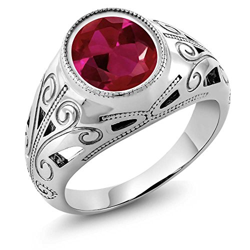 Gem Stone King 925 Sterling Silver Oval Red Created Ruby Men's Ring 6.40 Ct (Size -