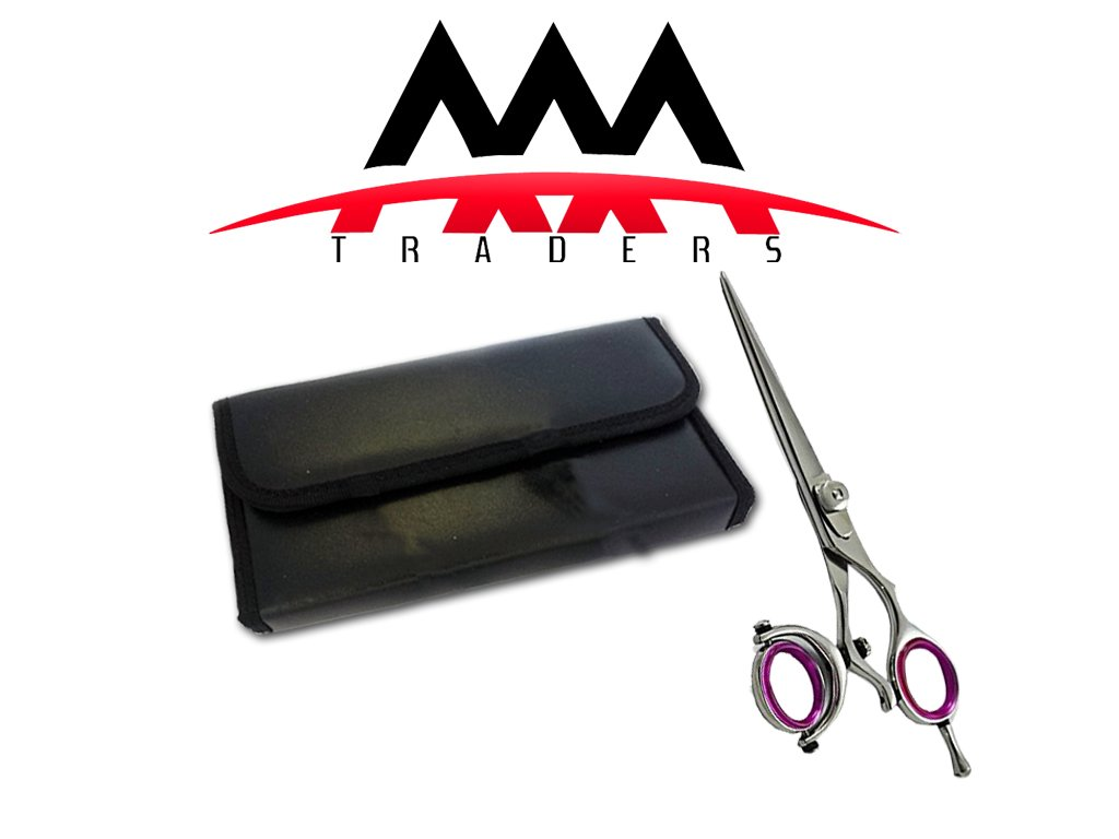 6.0 Professional Thumb Swivel Barber Razor Edge Titanium Coated Hair Cutting Scissors with free Lather Case AAA Traders