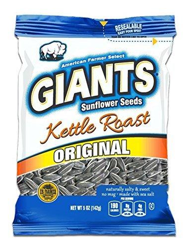 Giants Kettle Roast Sunflower Seeds , 12 packs - 5 oz bags - Giant Sunflower Seeds Original