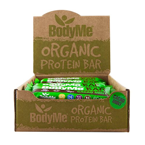 BodyMe Organic Vegan Protein Bar | Raw Cacao Mint | Box of 12 x 60g (2.12oz) | With 3 Plant Proteins product image